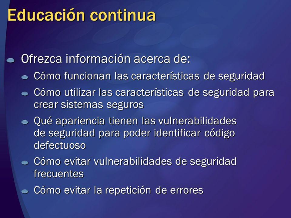Educación continua Ofrezca información acerca de: