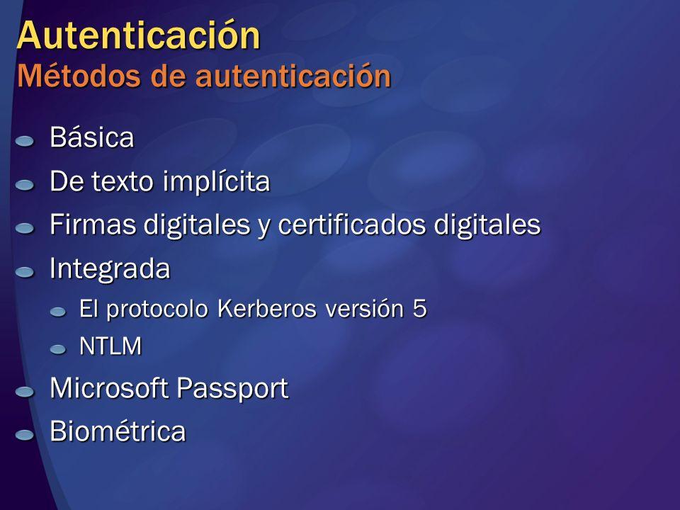 Autenticación Métodos de autenticación