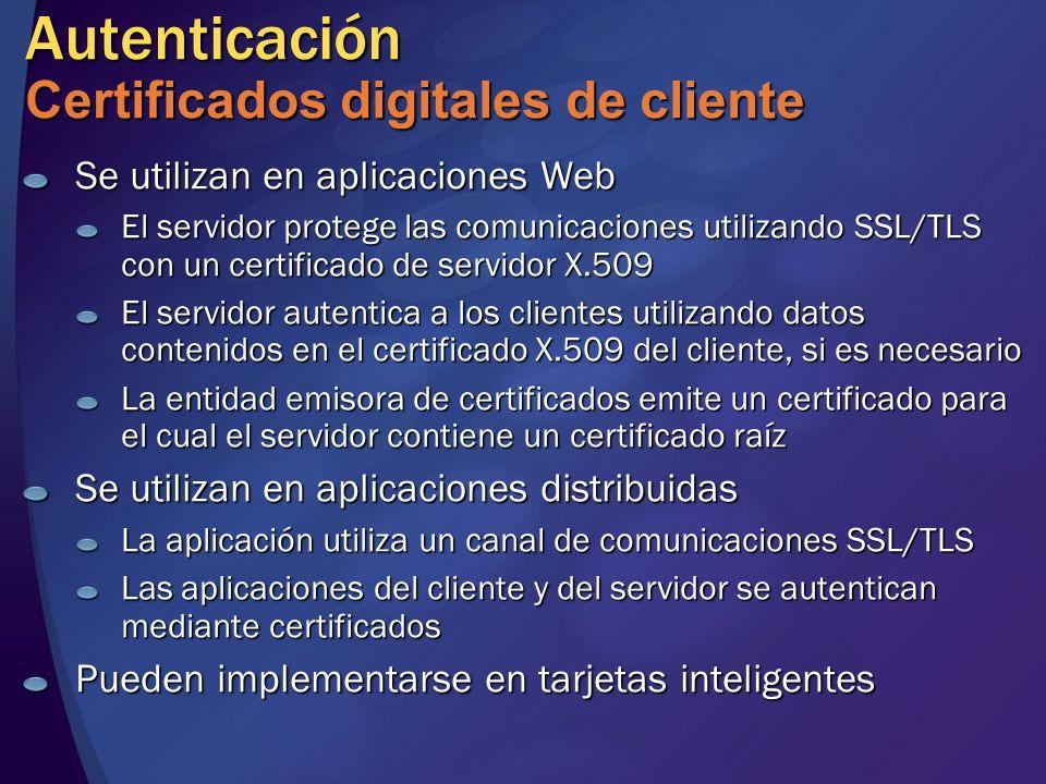 Autenticación Certificados digitales de cliente