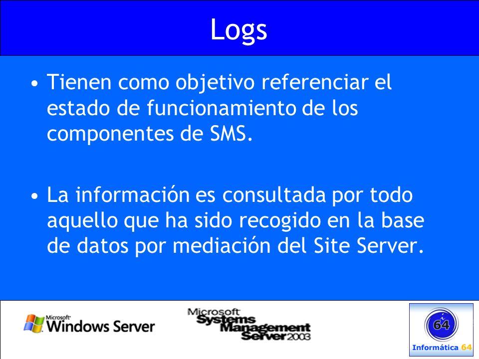 Logs Tienen como objetivo referenciar el estado de funcionamiento de los componentes de SMS.
