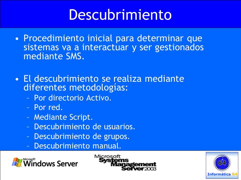 Descubrimiento Procedimiento inicial para determinar que sistemas va a interactuar y ser gestionados mediante SMS.
