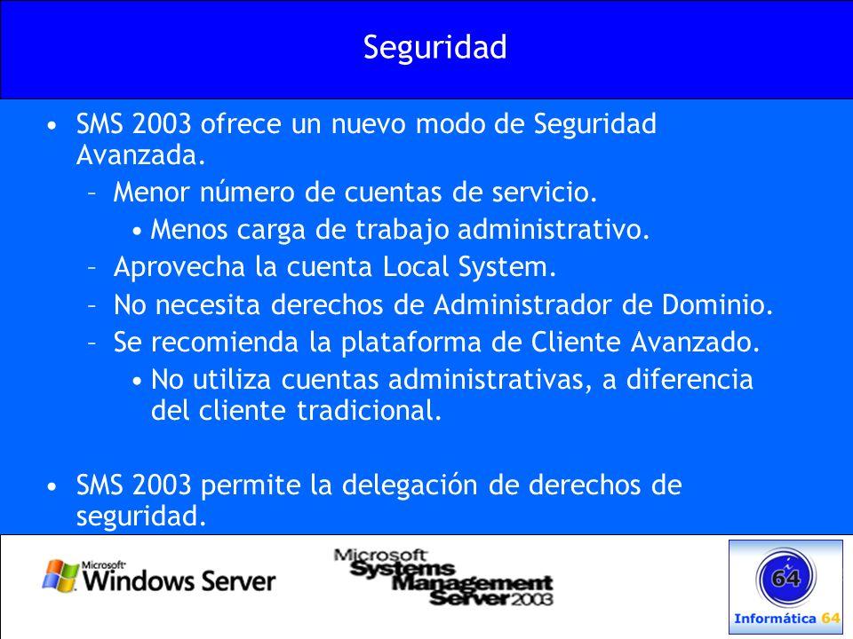 Seguridad SMS 2003 ofrece un nuevo modo de Seguridad Avanzada.
