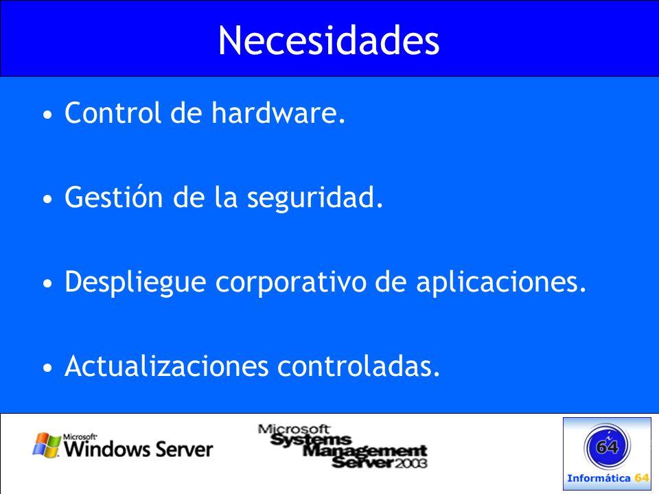 Necesidades Control de hardware. Gestión de la seguridad.