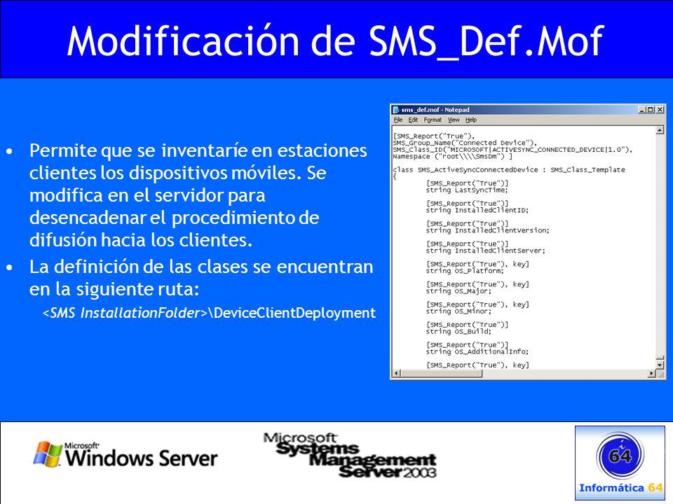 Modificación de SMS_Def.Mof