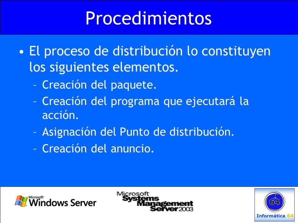 Procedimientos El proceso de distribución lo constituyen los siguientes elementos. Creación del paquete.