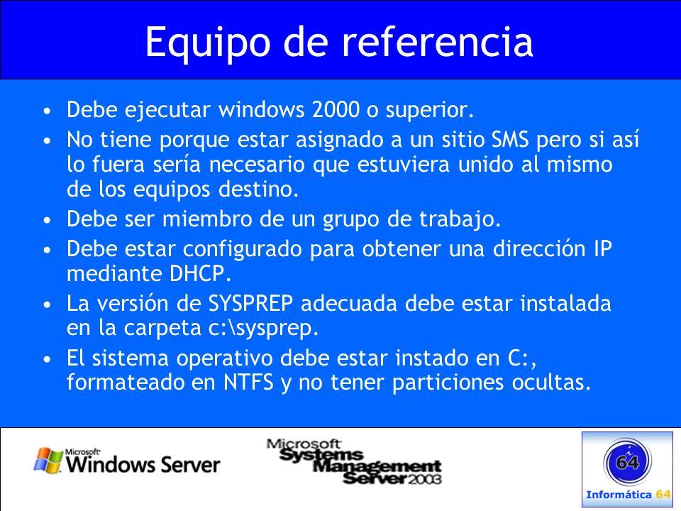 Equipo de referencia Debe ejecutar windows 2000 o superior.
