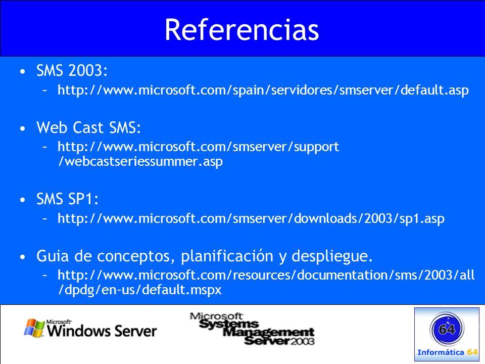 Referencias SMS 2003: Web Cast SMS: SMS SP1: