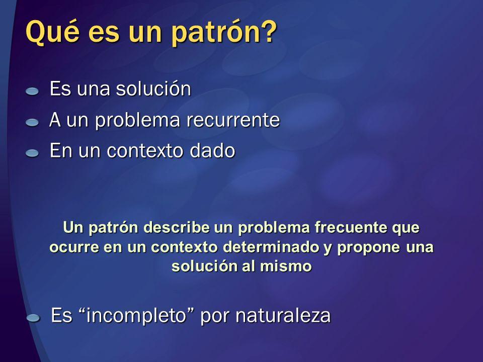 Qué es un patrón Es una solución A un problema recurrente