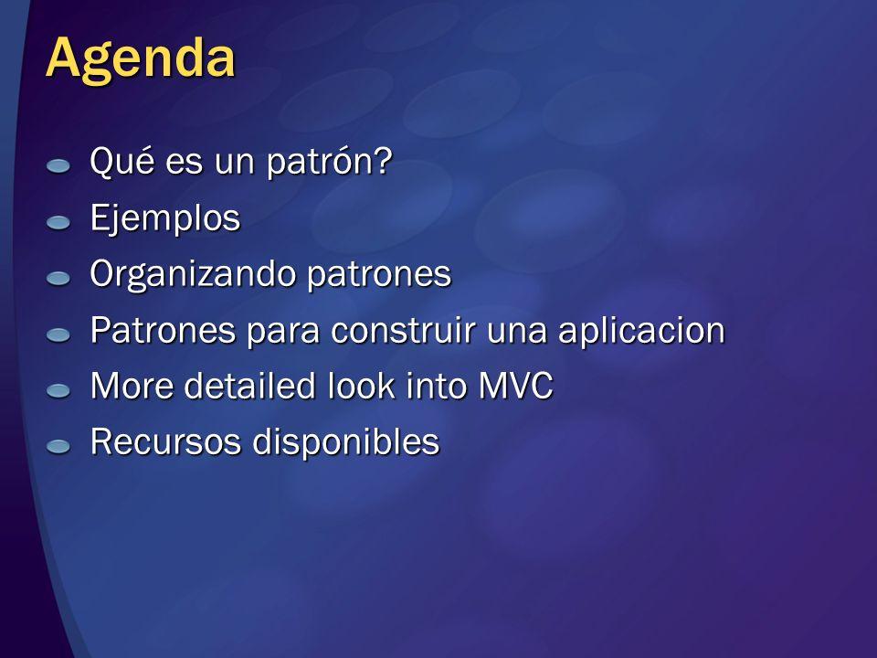 Agenda Qué es un patrón Ejemplos Organizando patrones
