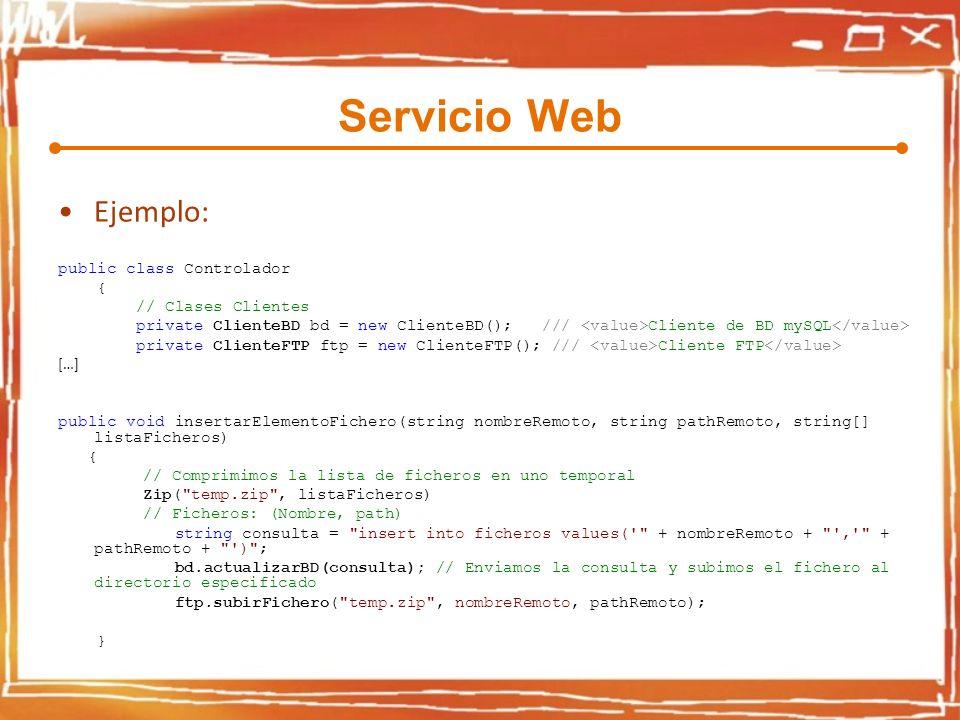 Servicio Web Ejemplo: public class Controlador { // Clases Clientes