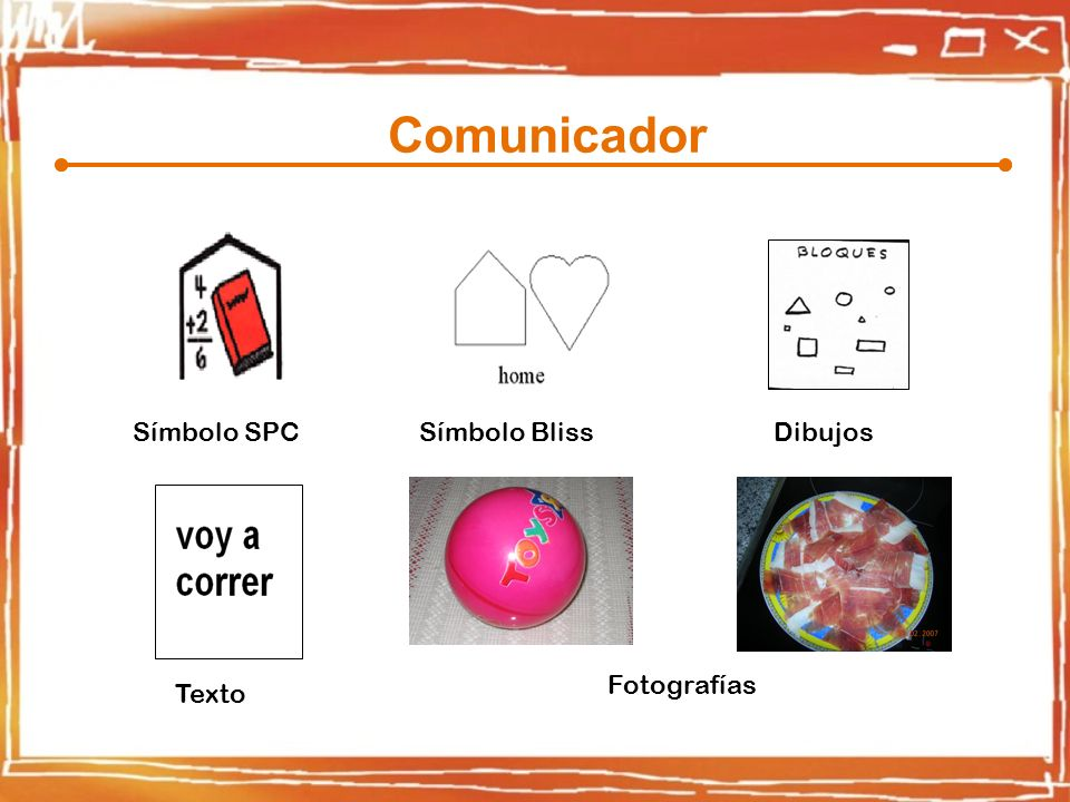 Comunicador Símbolo SPC Símbolo Bliss Dibujos Fotografías Texto