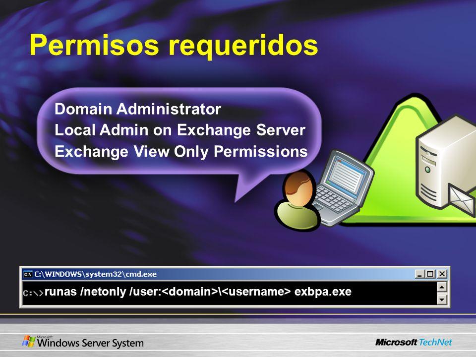 Permisos requeridos Domain Administrator