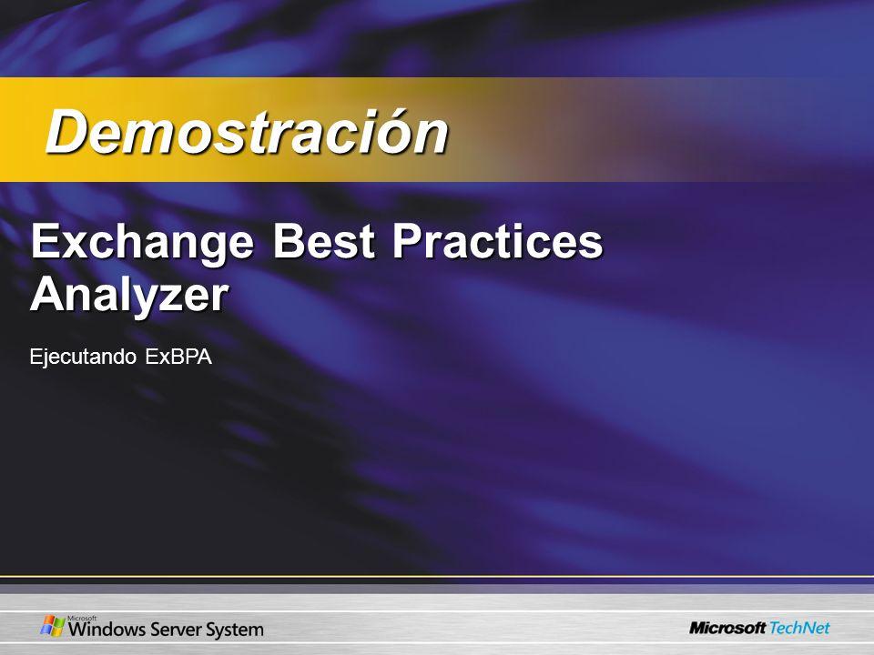 Demostración Exchange Best Practices Analyzer Ejecutando ExBPA