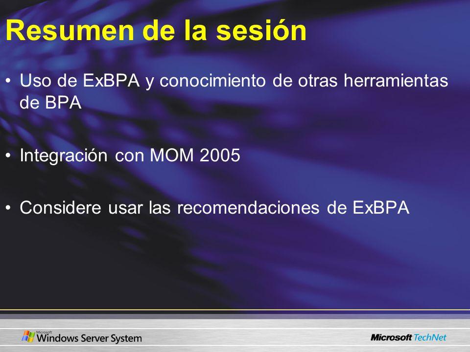 Resumen de la sesión Uso de ExBPA y conocimiento de otras herramientas de BPA. Integración con MOM 2005.