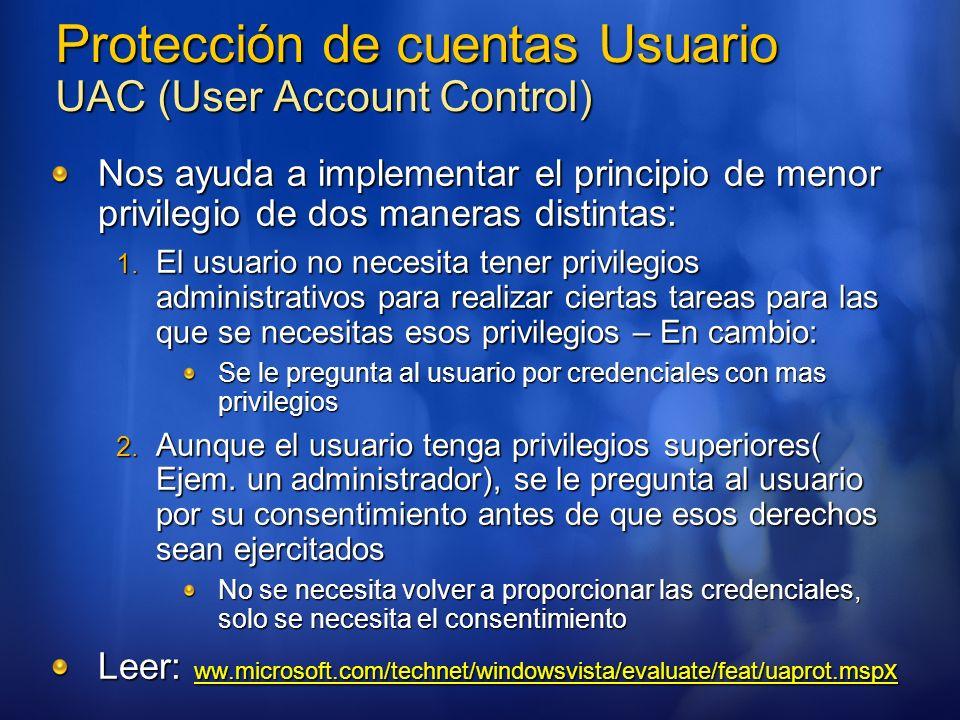 Protección de cuentas Usuario UAC (User Account Control)