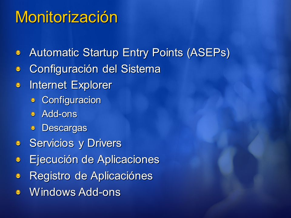 Monitorización Automatic Startup Entry Points (ASEPs)
