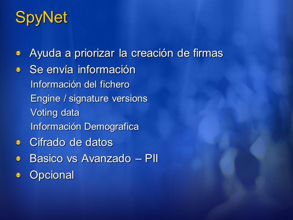 SpyNet Ayuda a priorizar la creación de firmas Se envía información