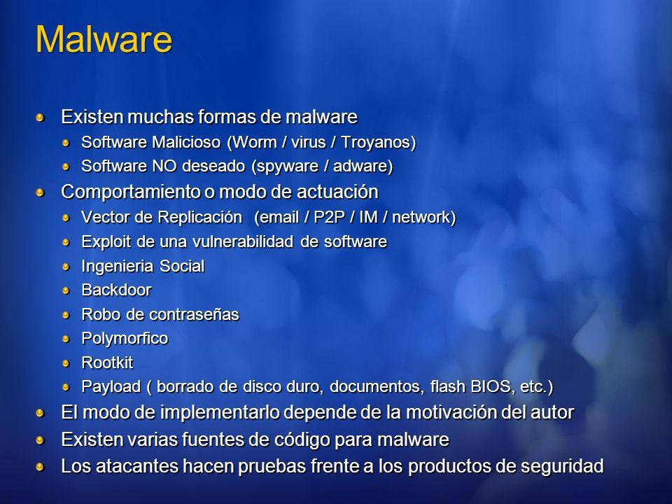 Malware Existen muchas formas de malware