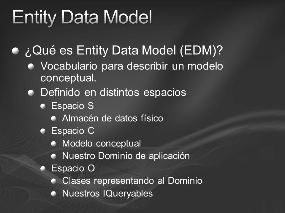Entity Data Model ¿Qué es Entity Data Model (EDM)