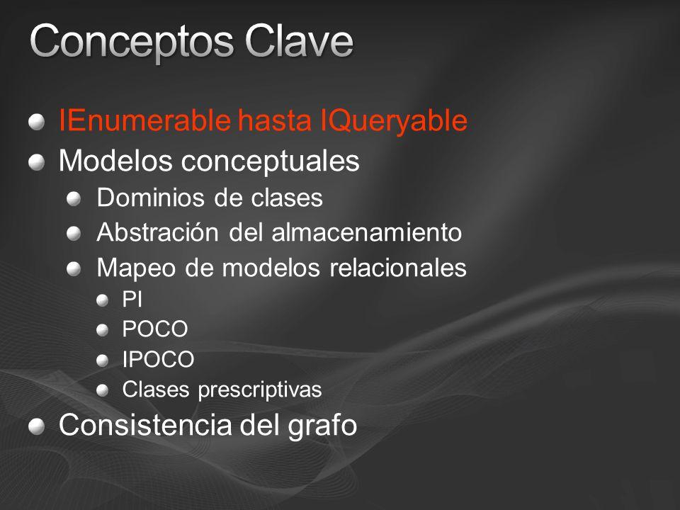 Conceptos Clave IEnumerable hasta IQueryable Modelos conceptuales