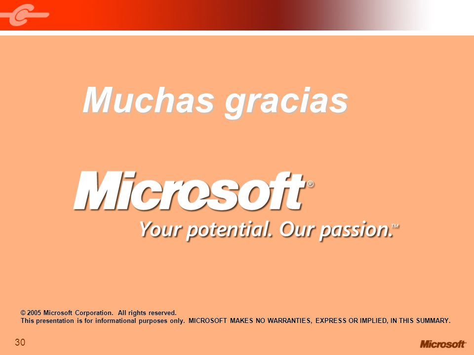 Muchas gracias © 2005 Microsoft Corporation. All rights reserved.