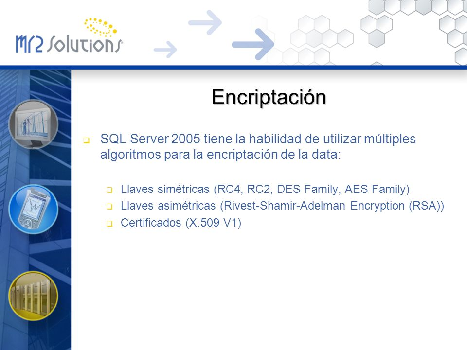 Encriptación SQL Server 2005 tiene la habilidad de utilizar múltiples algoritmos para la encriptación de la data: