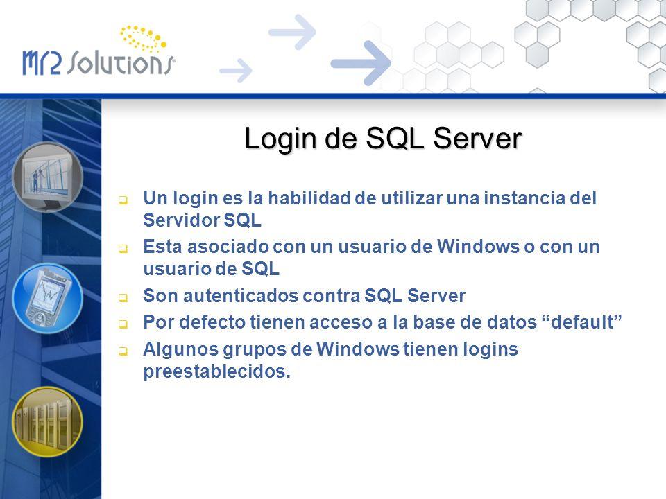 Login de SQL Server Un login es la habilidad de utilizar una instancia del Servidor SQL.