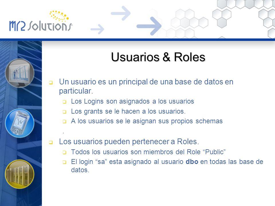 Usuarios & Roles Un usuario es un principal de una base de datos en particular. Los Logins son asignados a los usuarios.