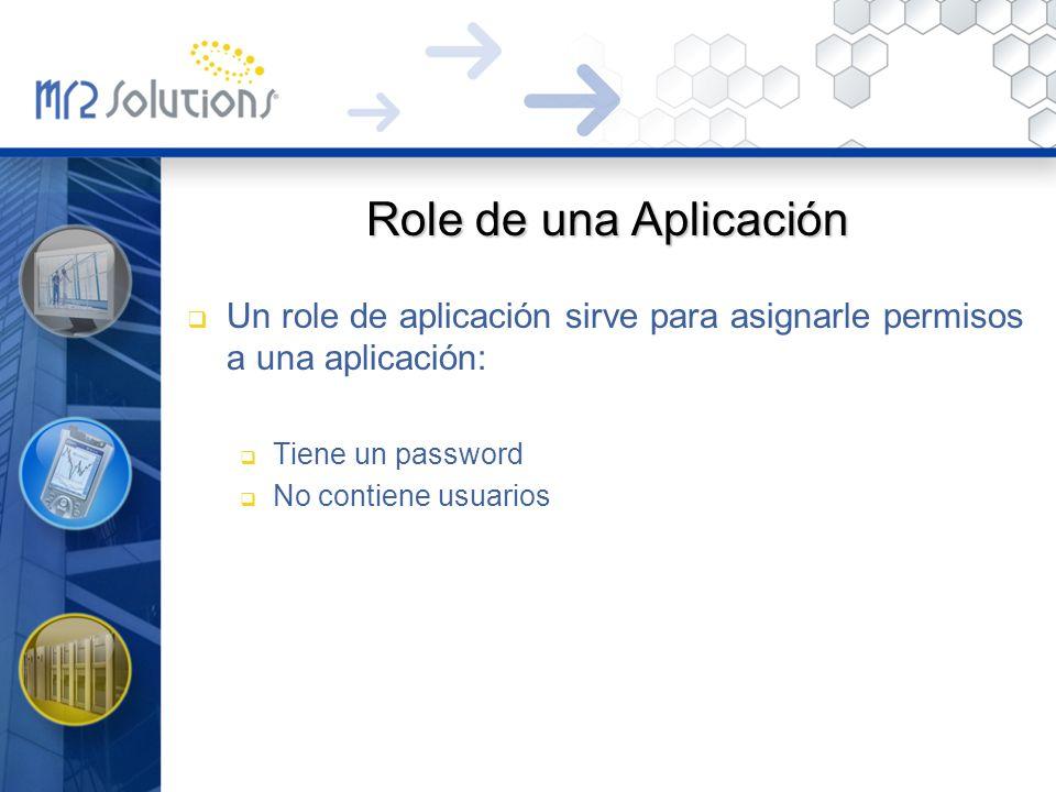 Role de una Aplicación Un role de aplicación sirve para asignarle permisos a una aplicación: Tiene un password.