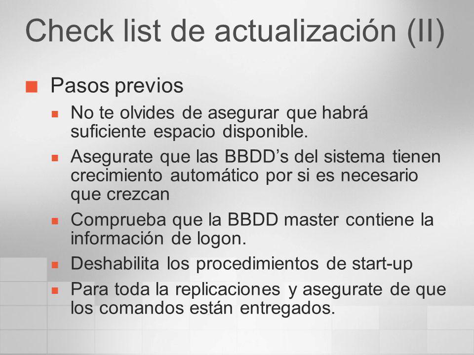 Check list de actualización (II)
