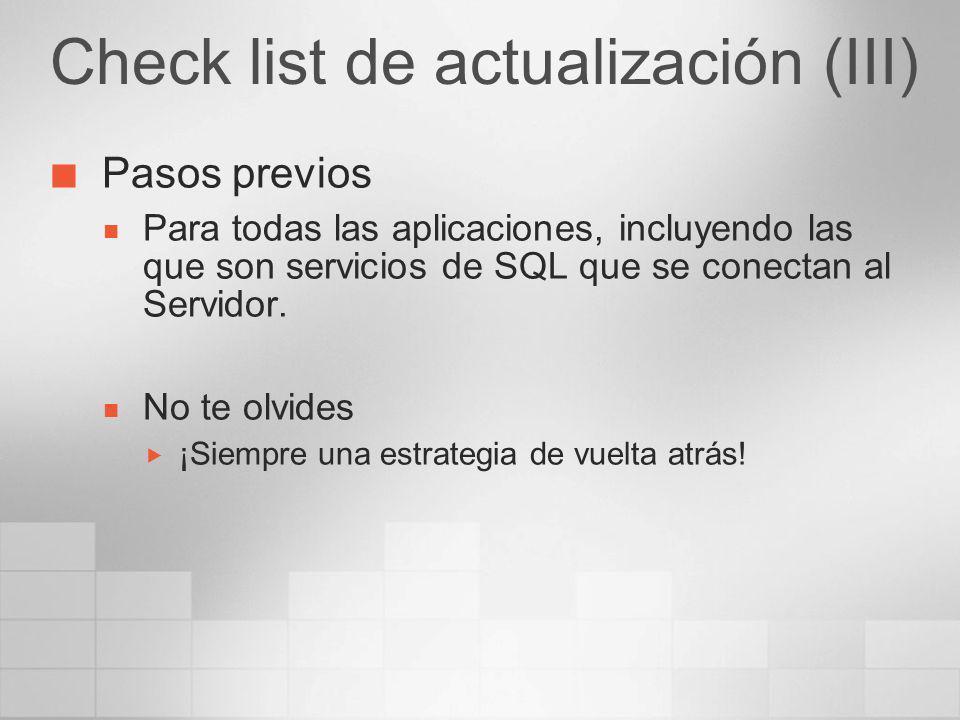 Check list de actualización (III)