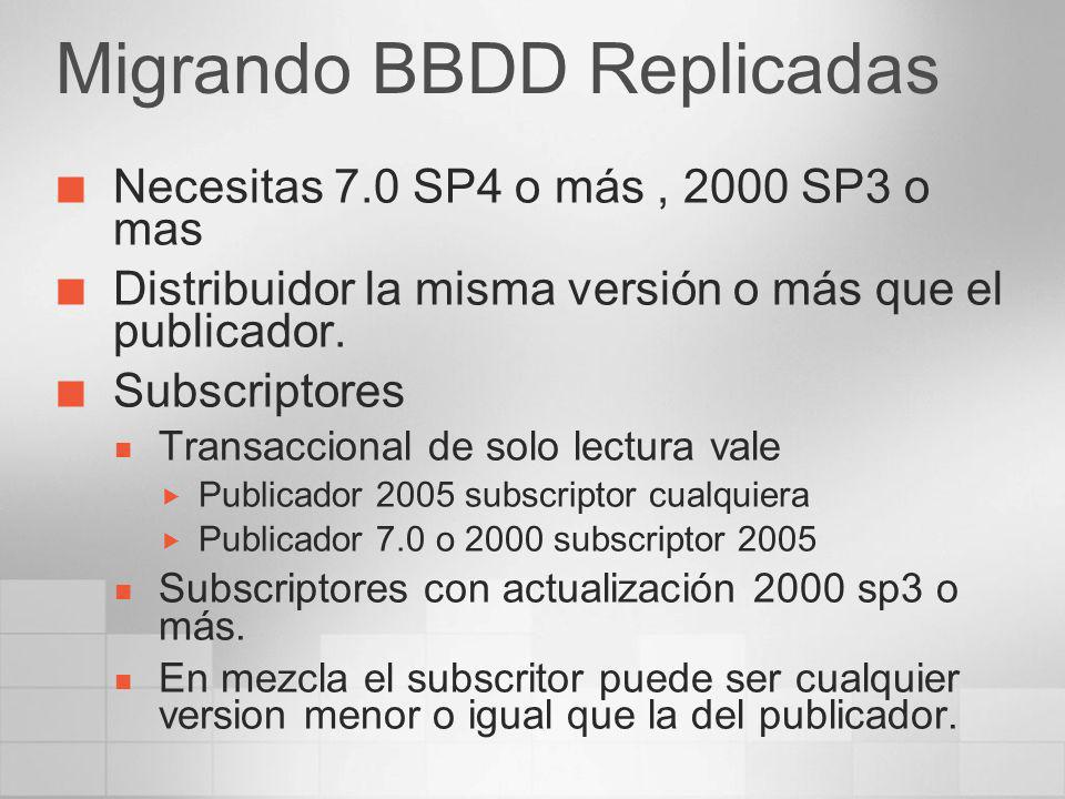 Migrando BBDD Replicadas