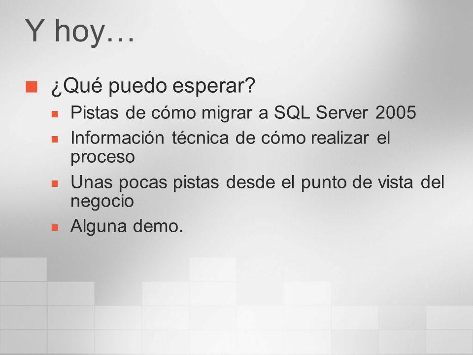 Y hoy… ¿Qué puedo esperar Pistas de cómo migrar a SQL Server 2005