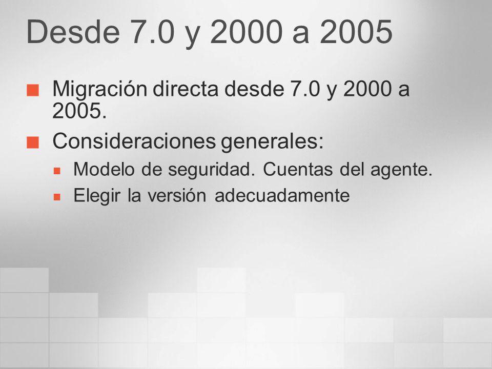 Desde 7.0 y 2000 a 2005 Migración directa desde 7.0 y 2000 a 2005.