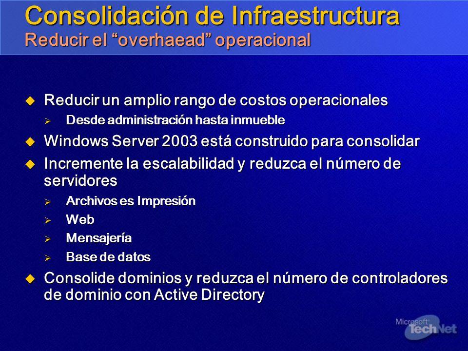Consolidación de Infraestructura Reducir el overhaead operacional