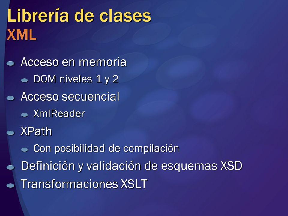 Librería de clases XML Acceso en memoria Acceso secuencial XPath