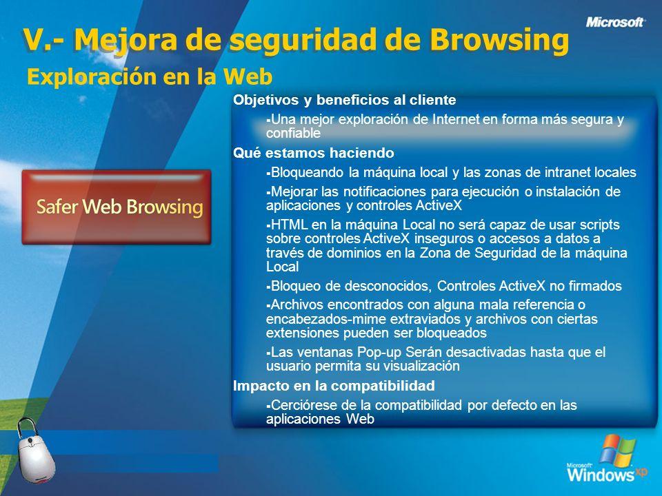 V.- Mejora de seguridad de Browsing