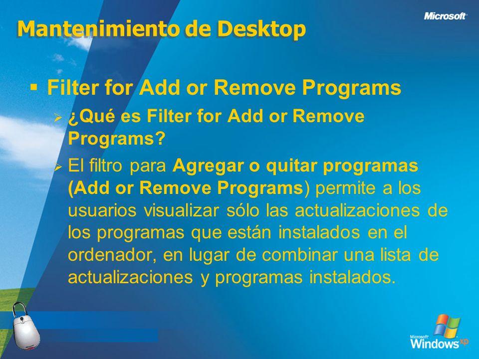Mantenimiento de Desktop