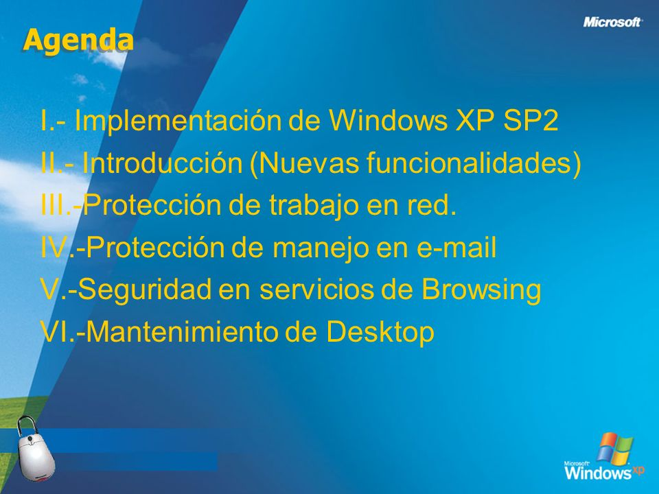 I.- Implementación de Windows XP SP2