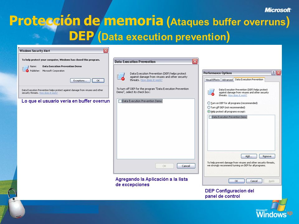 3/24/2017 Protección de memoria (Ataques buffer overruns) DEP (Data execution prevention)
