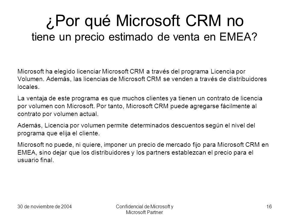 ¿Por qué Microsoft CRM no tiene un precio estimado de venta en EMEA