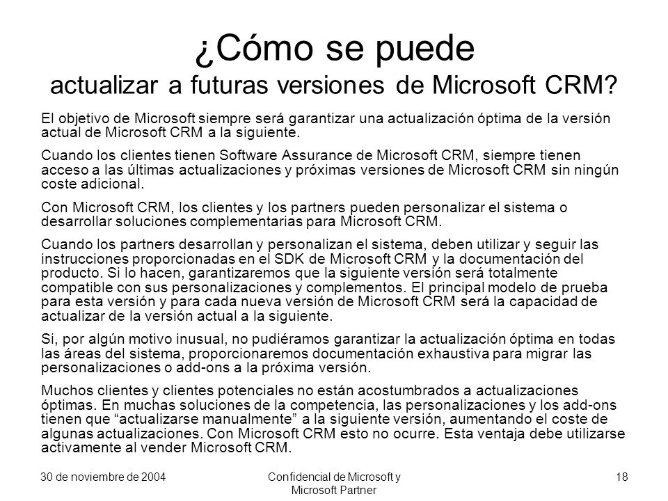 ¿Cómo se puede actualizar a futuras versiones de Microsoft CRM