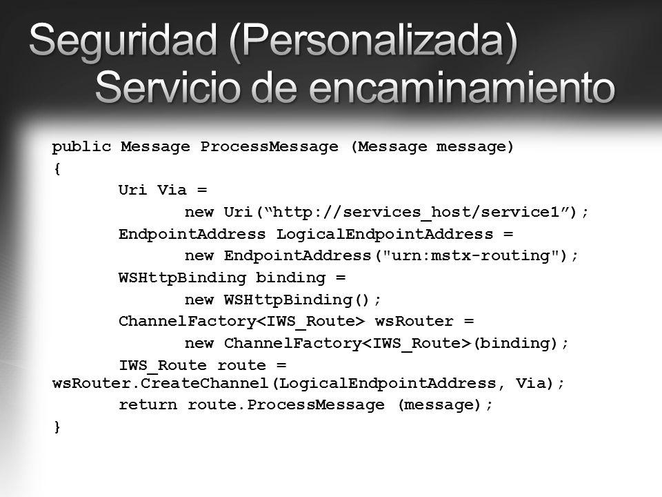 Seguridad (Personalizada) Servicio de encaminamiento
