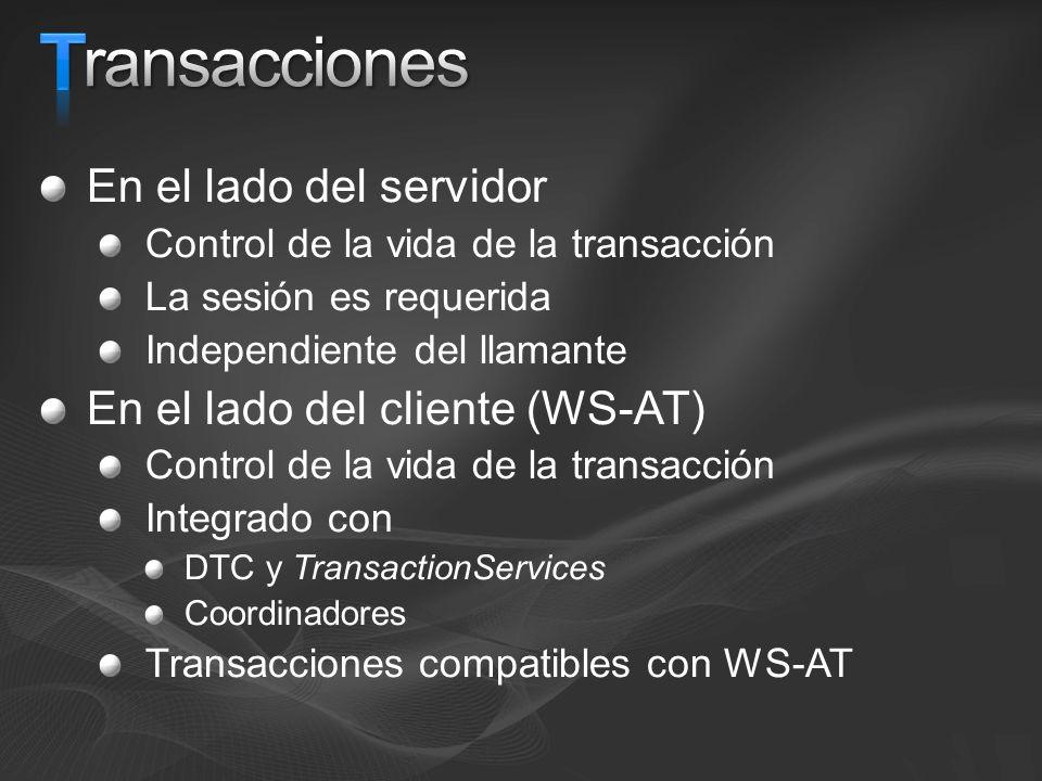 T Transacciones En el lado del servidor En el lado del cliente (WS-AT)
