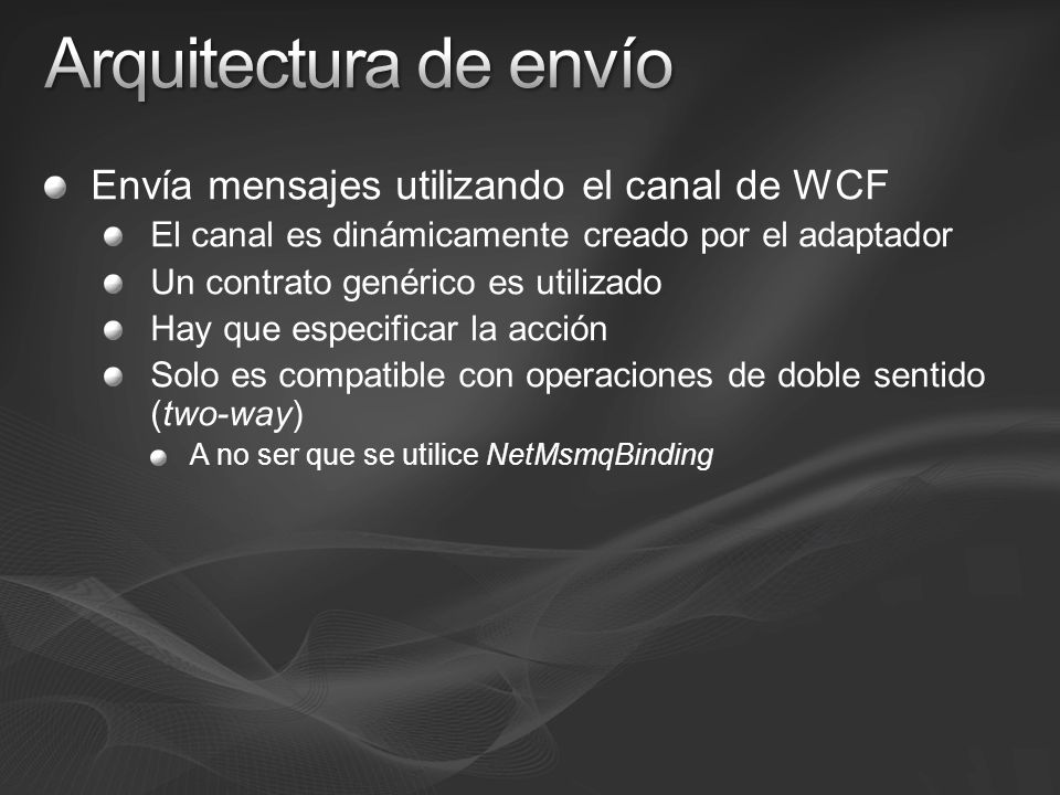 Arquitectura de envío Envía mensajes utilizando el canal de WCF