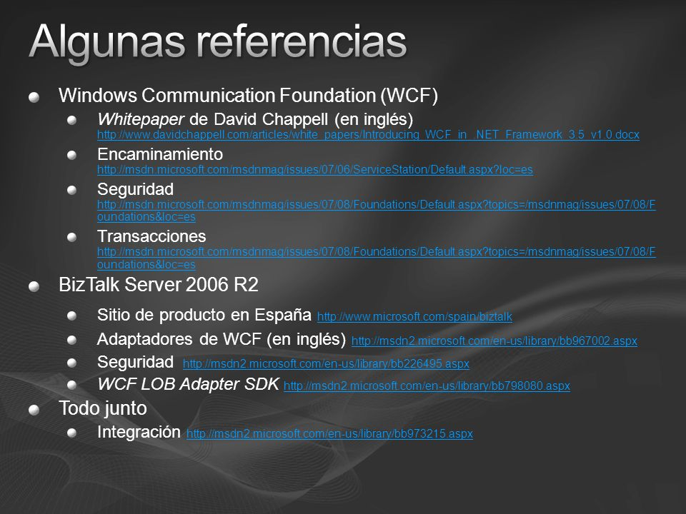 Algunas referencias Windows Communication Foundation (WCF)