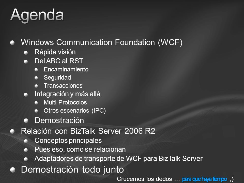Agenda Demostración todo junto Windows Communication Foundation (WCF)