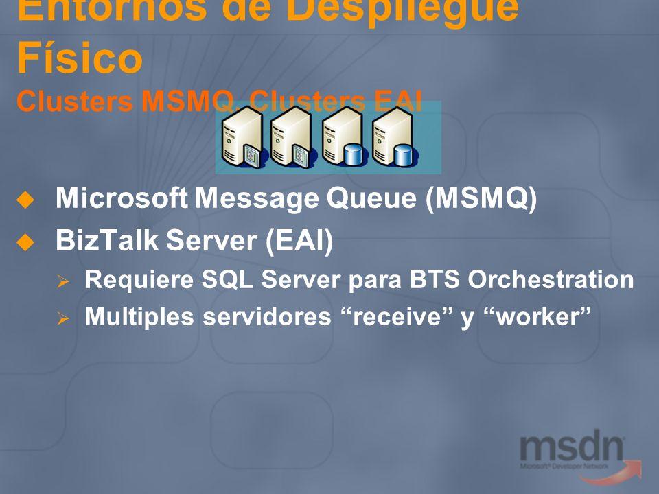 Entornos de Despliegue Físico Clusters MSMQ, Clusters EAI