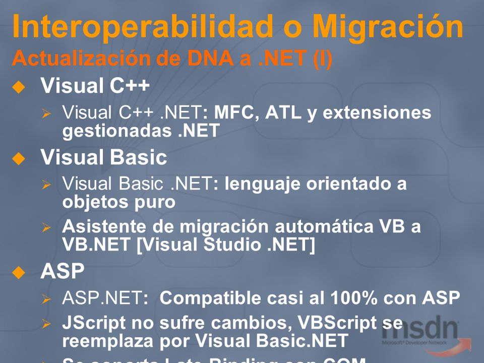 Interoperabilidad o Migración Actualización de DNA a .NET (I)