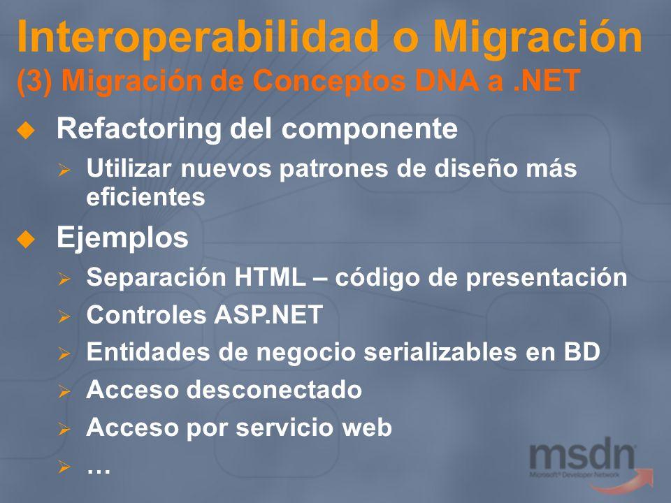 Interoperabilidad o Migración (3) Migración de Conceptos DNA a .NET